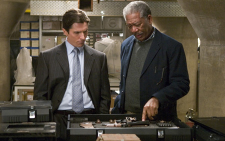 Bruce Wayne, Lucius Fox, Christian Bale, Morgan Freeman, Batman, fiction