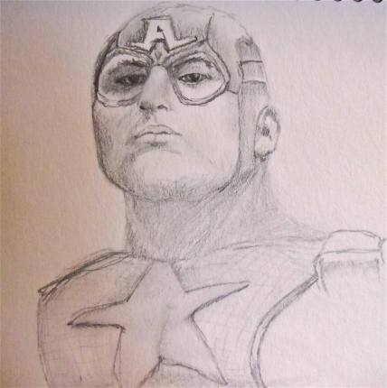 Sketch drawing of Captain America