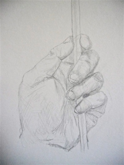 Sketch and Drawing a Hand with a Straw