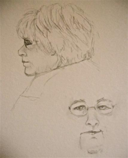 draw sketch faces coffee shop