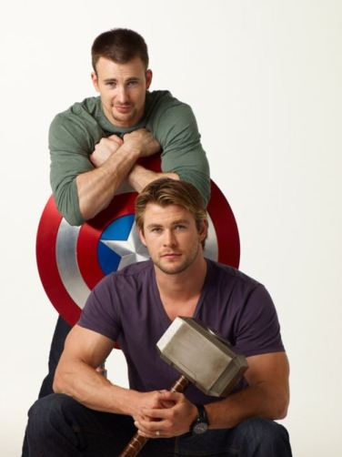 Chris Evans, Chris Hemsworth, Captain America, Thor, Avengers