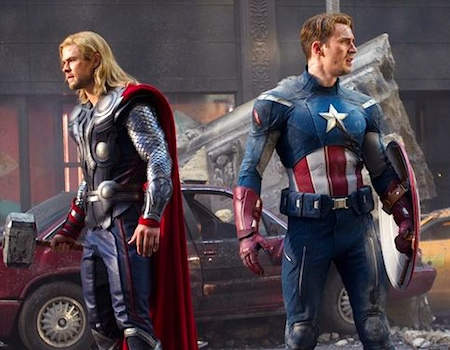 Thor, Captain America, Chris Hemsworth, Chris Evans, Avengers