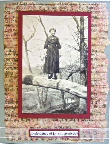 handmade greeting card, collage art, grandmother, vintage
