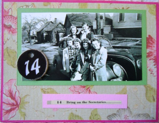 Secretaries, handmade greeting card, collage art