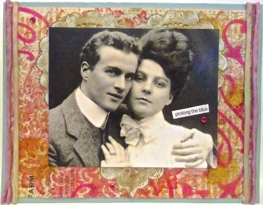 handmade greeting card, collage art, Valentine