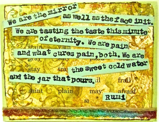 handmade greeting cards, collage art, Rumi