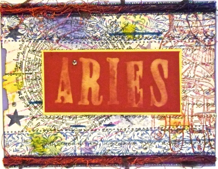 Aries 2, homemade greeting card, collage art, zodiac