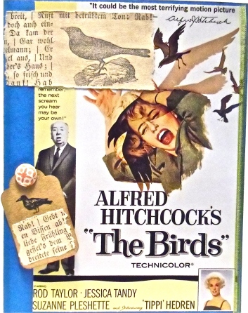 handmade greeting card, collage art, Hitchcock
