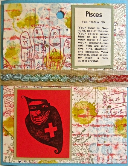 handmade greeting cards, collage art, zodiac, Pisces