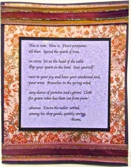 handmade greeting card, collage art, Rumi, poetry