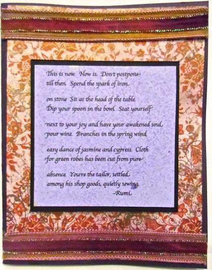 handmade greeting card, collage art, Rumi, poetry